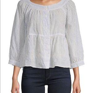 We the free blue strip mid length sleeve blouse.